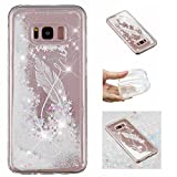 KM-Panda Samsung Galaxy S7 Edge Case Glitter Liquid TPU Silicone Gel Rubber Ultra Thin Slim Transparent Clear Bumper Protective Cover Bling Shockproof - Feather Quote White