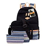 Leaper Casual Lightweight Canvas Laptop Bag Cute School Backpacks+Shoulder Bag+ Pencil Case 3PCS Black