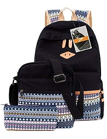 Leaper Casual Lightweight Canvas Laptop Bag Cute School Backpacks+Shoulder Bag+Pen Case Purse (Black,3PCS)