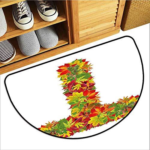 TableCovers&Home Welcome Door Mat, Letter T Indoor Doormats for Office, Uppercase T Name Alphabet Symbol with Bunch of Shaded Fall Oak Tree Leaves Season (Multicolor, H20 x D32 - Stair Autumn Oak