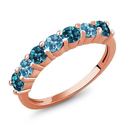 Gem Stone King 1.40 Ct London Blue Topaz Swiss Blue Topaz 18K Rose Gold Plated Silver Anniversary Ring (Size 8) (Ring 18k Topaz)