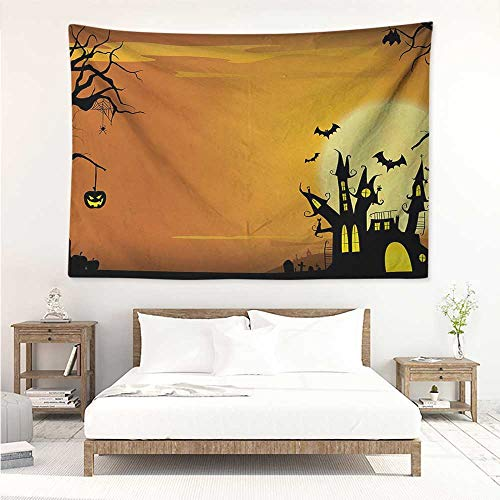 Halloween,Home Living Tapestry Gothic Haunted House Bats Western Spooky Night Scene with Pumpkin Drawing Art 80W x 60L Inch Blanket Wall Art Tapestry Orange -