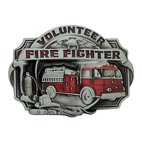 Firefighter Belt Buckle (Rideaway Fire Fighter Belt Buckle (Silver/Red Truck))