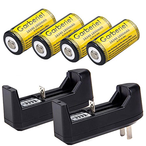 WishDeal CR123A Battery Lithium Rechargeable Battery cell Battery For Camera Flashlight