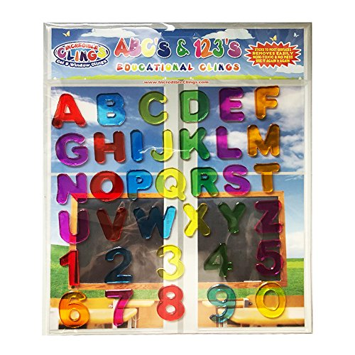 ABC & 123 Gel Clings - Full Alphabet Letters and Numbers Window Clings for Kids - 36 Removable and Reusable Educational Gel Decals for Home, Planes, Classrooms and More by Incredible Clings