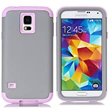 Galaxy S5 Case,LUOLNH 3-Piece High Impact Hybrid Defender Case For Samsung Galaxy S5 i9600 (not fit Galaxy S5 mini 2014)(Grey+Baby Pink)