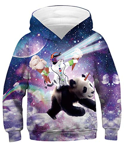 Sweatshirt Birthday Kids (GLUDEAR Child Activity Sports Hoodie Long Sleeve 3D Funny Printed Sweatshirt Pullover Birthday Gift,Panda,8-11 Years)