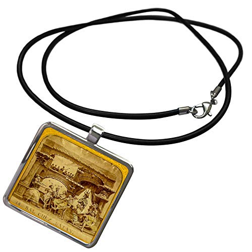 3dRose Scenes from The Past - Stereoview - 1800s French Diabolerie Vintage Stereoview Satans Ball - Necklace with Rectangle Pendant (ncl_300279_1) ()