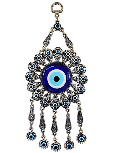 Erbulus Turkish Glass Blue Evil Eye Wall Hanging Ornament with Flower Design – Metal Home Decor – Turkish Nazar Bead…