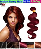 eCowboy BODY WAVE Indian Human Hair 6A Bundle Hair Weave Extensions GREAT DEAL 100 Human Hair GUARANTEED Weft Track Beautiful Purplish Red #99J Color-26 Inch Review
