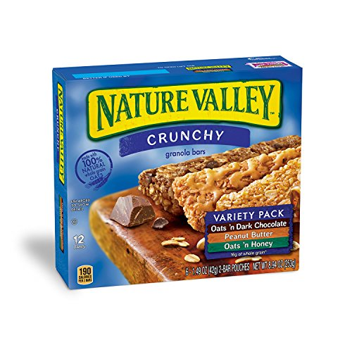 - Nature Valley Granola Bars, Crunchy, Variety Pack of Oats 'n Dark Chocolate, Peanut Butter, Oats 'n Honey, 12-Bars Per Box (Pack of 6)