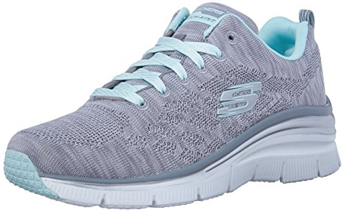SKECHERS Women's Fashion Fit Gray/Mint Sneaker