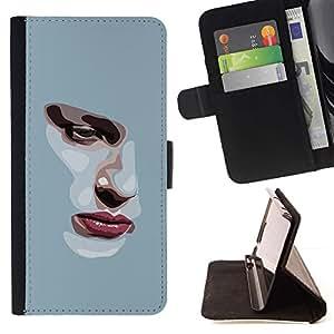 Momo Phone Case / Flip Funda de Cuero Case Cover - Chica Depresión triste Heartbreak Gris - Samsung Galaxy Note 3 III