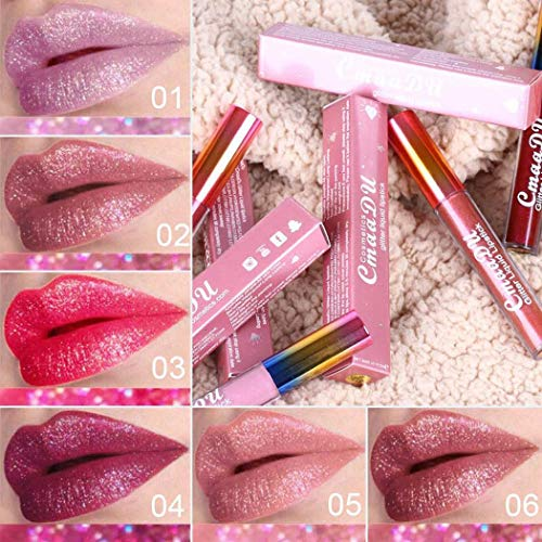 HOTLISTA 6 Colors Glitter Shimmer Flip Lip Gloss Set Non-stick Cup Waterproof Moisturizing Liquid Lipstick Long Lasting Glitter Lip Tints 1pcs