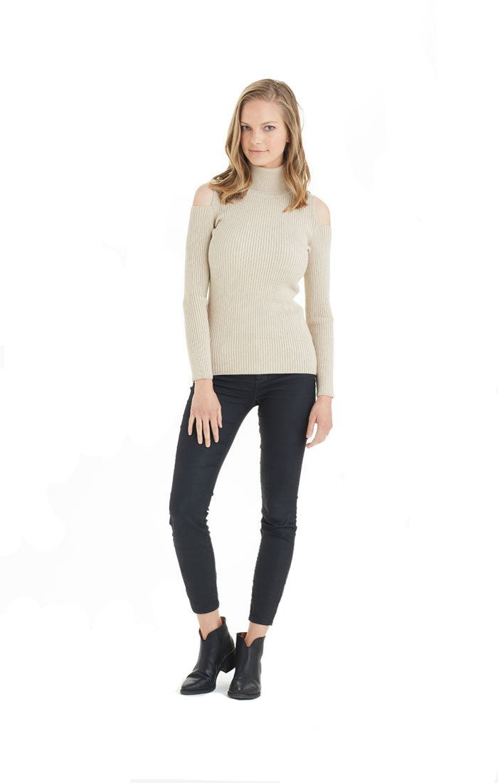 Love Token Sara Cold Shoulder Sweater - LT10-74 (Small, Beige) by Love Token (Image #1)