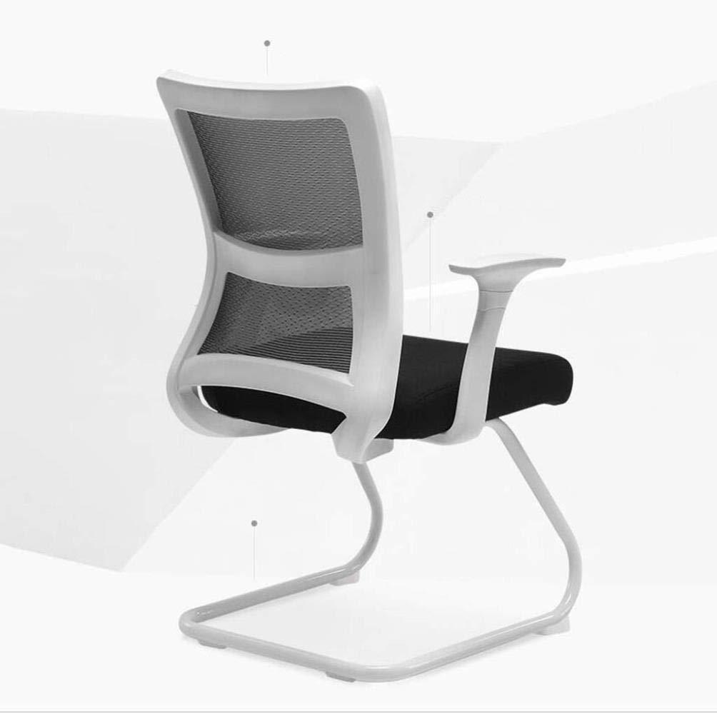 Bekväm kontorsstol konferensstol båge datorstol bak modern enkel ekonomisk stol svart och vit kontorsstol robust (färg: svart) Vitt