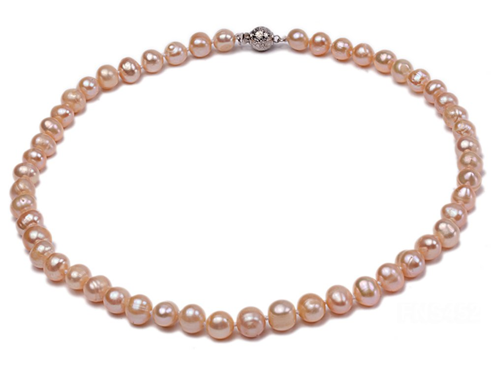JYX 7-8mm Oval Natural White/Pink Freshwater Cultured Pearl Necklace 17''