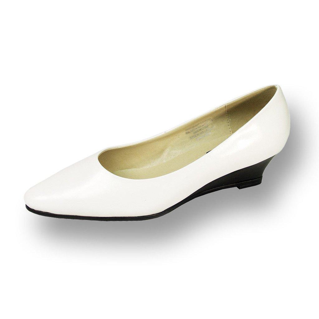 Peerage FIC Gloria Women Wide Width Leather Wedge Pump White
