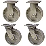 6'' Heavy Duty Semi Steel Cast Iron Casters - 2 Swivel 2 Rigid - 4,800 lb Capacity Set of 4