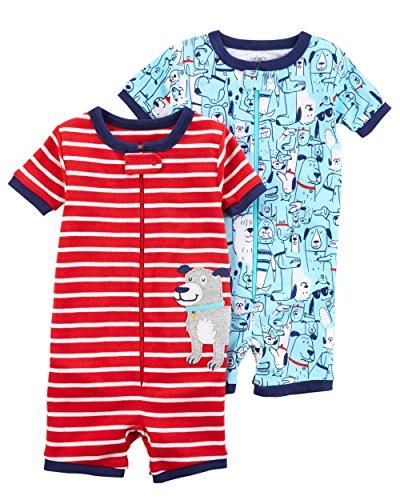 Carter's Boys' 2-Pack Zip-up Snug Fit Cotton Romper PJs (2T, Red/Blue) ()