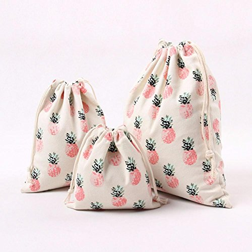 "SMYTShop Pineapple Printed Drawstring Beam Port Storage Bag Travel Bag Gift Bag (Large:9.8""×12.5"")"
