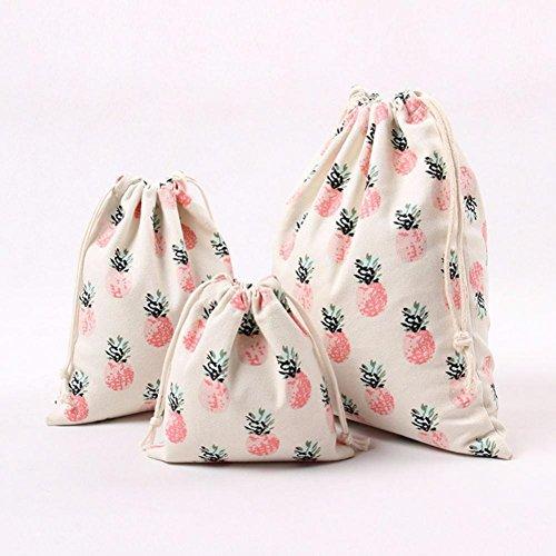 SMYTShop Pineapple Printed Drawstring Beam Port Storage Bag Travel Bag Gift Bag (Large)