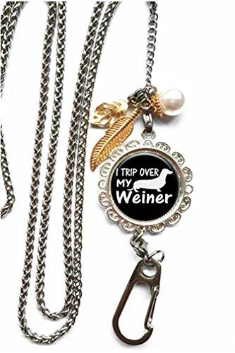 RhyNSky Dog Dachshund, I Trip Over My Wiener Chain Lanyard Necklace Bracelet Keychain Eyeglass Holder for ID Card Name Tag Badge Holder with Clasp, - Eyeglass Dachshund Holder