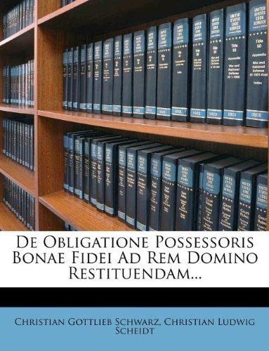 Download de Obligatione Possessoris Bonae Fidei Ad Rem Domino Restituendam... ebook