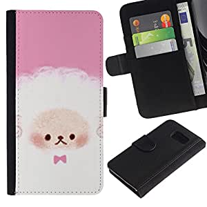 KingStore / Leather Etui en cuir / Samsung Galaxy S6 / Cute Puppy Oveja Rosa Blanco
