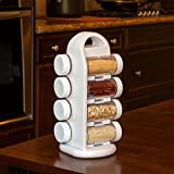 Adorox Revolving Spice Rack Tower Kitchen Utensils, Seasonings Storage Organization (White)