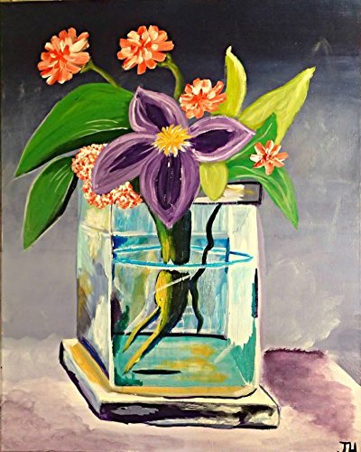 Amazon Purple Flowers In Glass Vase Acrylic Painting On 16 X 20