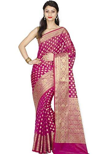 Chandrakala Women's Magenta Cotton Silk Blend Banarasi Saree,Free - Magenta Georgette