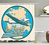 Ambesonne Airplane Decor Collection, Bon Voyage Pop Retro Style Travel Tourism Have a Safe Flight Map of Africa and Australia Image, Polyester Fabric Bathroom Shower Curtain Set with Hooks, Blue