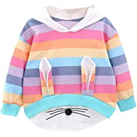 MEIbax Otoño e Invierno Moda Dibujos Animados Conejo Animal Arcoiris Estampado Rayas niña Sudadera con Capucha suéter…