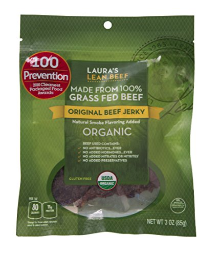Laura's Lean Beef Organic Grass Fed Jerky, Original, 3 Oz Bag