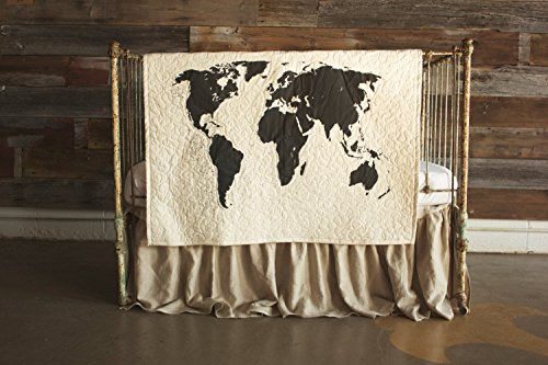 World Map - Linen Crib Quilt Baby Bedding - 36x45 by The Barn Social