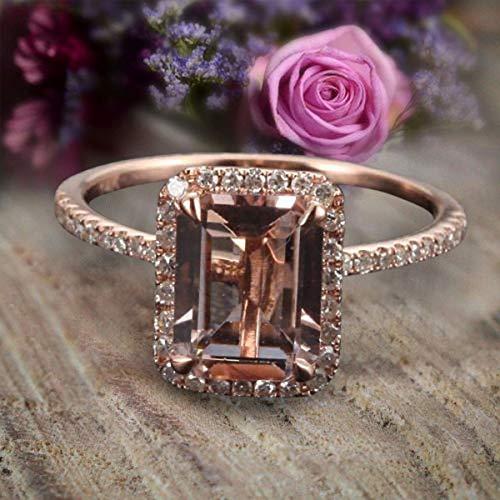 - 1.50 Carat Peach Pink Morganite (emerald cut Morganite) and Diamond Engagement Ring in 10k Rose Gold