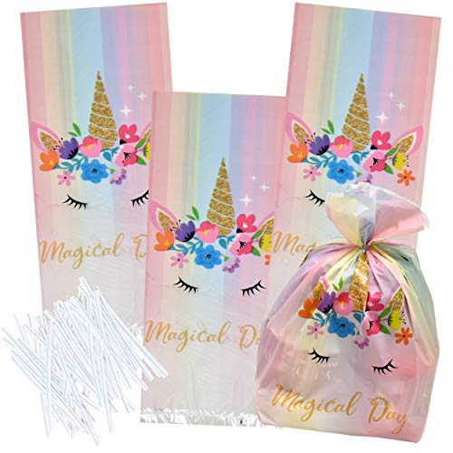 100 Unicorn Cellophane Bags Party Treat Favor Bags Birthday Supplies Goodie Candy Plastic Pack for Girls Assorted Rainbow, Pastel, Pink and Fairy Colors Party Decorations Fill Treats - Gift Boutique