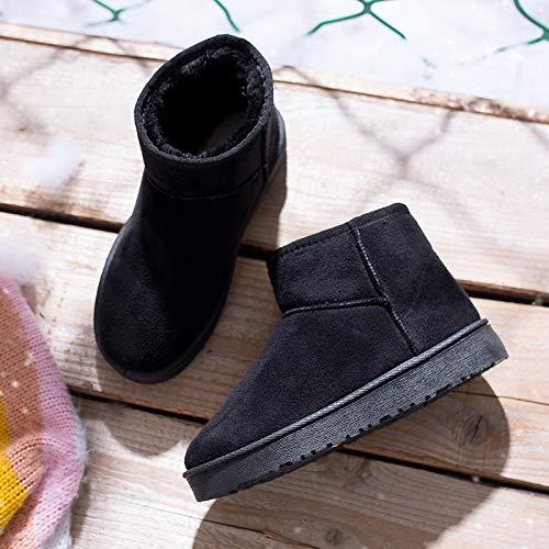 Shukun Damen Schneestiefel Schneeschuhe Weibliche Winter Kurze Stiefel Baumwolle Schuhe Warme Gepolsterte Flache Unterseite Lässig Rohr Verdickung Brot Schuhe