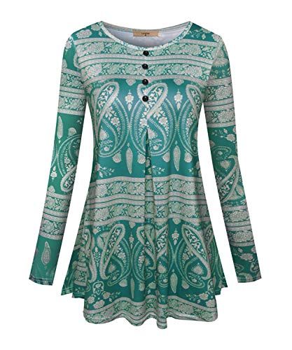 (Luranee Long Blouses for Women, Ladies Patterned Petite Shirts Dressy Tops Long Sleeve Fitted Autumn Winter Clothes Graceful Pretty Chic Print Knit Halter Tunic Green Medium)