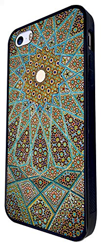 1397 - Cool Fun Trendy Cute Kawaii Space Hypnotise Kaleidoscope Colourful Peace Art Swirl Stain Glass Design iphone SE - 2016 Coque Fashion Trend Case Coque Protection Cover plastique et métal - Noir