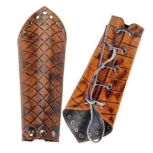 JAOYU Leather Gauntlet Wristband Medieval Archery Bracers Viking