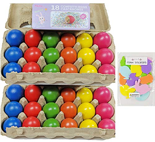 Easter Confetti Eggs Cascarones Pack of 2-18 eggs each (36 eggs total) and foam stickers