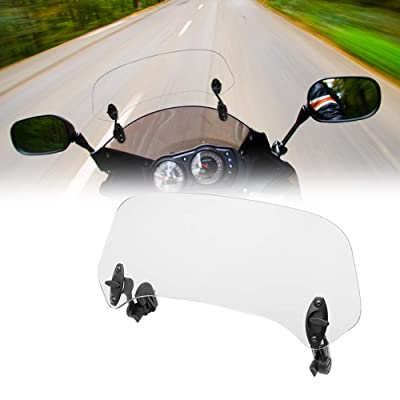 Motoparty Motorcycle Windshield Extension - Universal Adjustable Clip-on - Fits Honda Suzuki Kawasaki Yamaha BMW Harley Buell Triumph Ducati Aprilia and more Motorcycle Windshields: Automotive