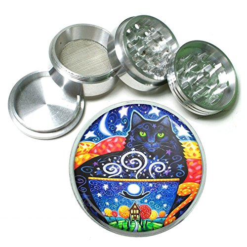 Cat Art Em10 Silver Chrome 63mm Aluminum Magnetic Metal Herb Grinder 4 Piece Hand Muller Spices & Herb Heavy Duty 2.5
