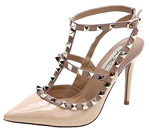 Royou Yiuoer Thirteen Colors Women's Pumps Patent Leather Buckle Studded Sandals Double Strap Dress Sandals Nude 8.5 B(M) US -