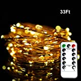 Christmas Lights Strings with Remote - Ofun 100 Leds Twinkle lights 33 Ft Copper Wire Lights for Indoor Outdoor - with Twinkling Feature - Christmas Decorative Lights - Warm White