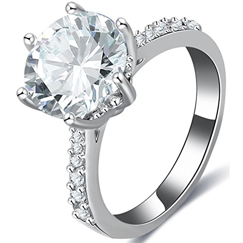 TEMEGO Cute 3 ct Solitaire Cubic Zirconia Engagement Rings for Women,Large Clear Halo CZ Wedding (New 3 Carat Solitaire)