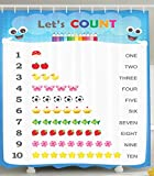 Count to Ten Educational Numbers Digital Print Home Fashion Bathroom Art Prints Numbers Kids Play Children Special Education Daycare Kindergarden Decor Shower Curtain, Blue White Red Yellow Pink Green