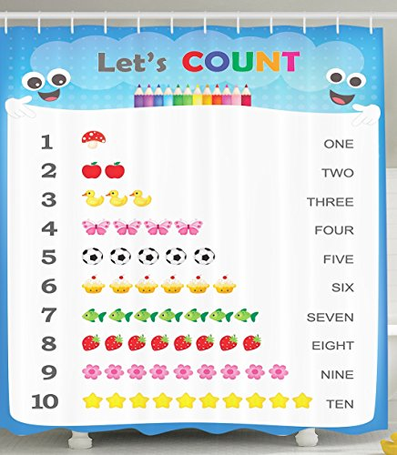 Count to Ten Educational Numbers Digital Print Home Fashion Bathroom Art Prints Numbers Kids Play Children Special Education Daycare Kindergarden Decor Shower Curtain, Blue White Red Yellow Pink Green by Ambesonne